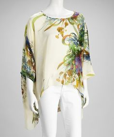 Take a look at this Cream & Blue Floral Camisole & Cape-Sleeve Top by Adore on #zulily today!