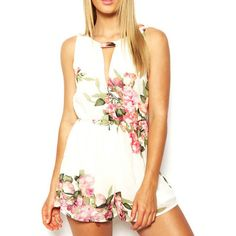 Cheap summer playsuit, Buy Quality playsuits jumpsuits directly from China romper women summer Suppliers: open back chiffon floral romper womens Summer playsuits jumpsuit summer cute feminino vestidos female overalls Clothing Chiffon Floral, Chiffon Flowers, Print Chiffon, Pink Flowers, White Chiffon, Romper Floral, Floral Jumpsuit, White Jumpsuit, Printed Jumpsuit