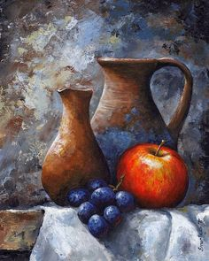 Still Life Art Print featuring the painting Still Life 11 by Emerico Imre Toth Still Life Drawing, Painting Still Life, Still Life Art, Fruit Painting, Painting Inspiration, Art Pictures, Painting & Drawing, Watercolor Art, Fine Art America