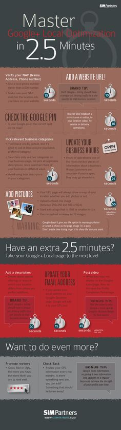 Master #Googleplus Local Optimization in 2.5 Minutes #infographic