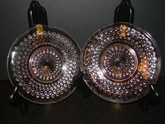"Pink Depression Glass ""Hobnail"" by Hocking Glass Co.  4 Plates"