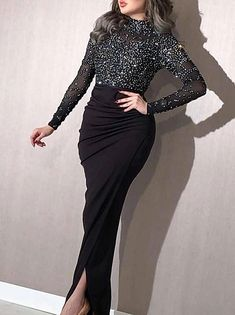 Cheap Evening Gowns, Hijab Evening Dress, Hijab Dress Party, Long Sleeve Evening Dresses, Prom Dresses Long With Sleeves, Black Evening Dresses, Long Sleeve Midi Dress, Ball Dresses, Sexy Dresses