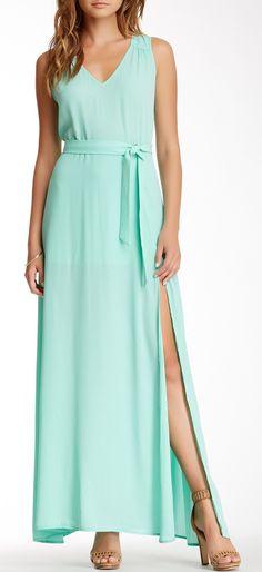 Sleeveless Waist Tie Maxi Dress