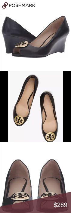 "Tory Burch Kara Wedge Brand new in box. Sold out everywhere. Size 9.5. A gleaming Tory Burch logo medallion sits just above the peep toe of a sophisticated open-toe wedge crafted from smooth leather. Heel Style:Wedge Toe Style:Peep toe, open toe 2 1/2"" (63mm) heel (size 8.5) Leather upper and lining/rubber sole By Tory Burch; imported Tory Burch Shoes Wedges"