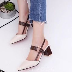 Plain Chunky Mid Heeled Ankle Strap Point Toe Date Office Pumps Cute Womens Shoes, Womens Shoes Wedges, Shoes Women, Latest Shoes, Fashion Heels, Women's Shoes Sandals, Shoes Sneakers, Designer Shoes, Stiletto Heels