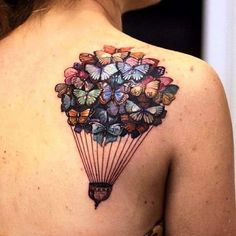 Butterfly Baloon Tattoo Design on Back Shoulder. More