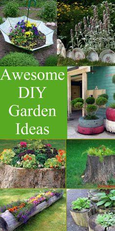 Upgrade your garden with these pretty Ideas. Use umbrellas, old tires, broken plates, tree trunks and more. #garden #gardendecor #DIY