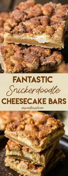 #Snickerdoodle #cookies were one of my favorite things as a kid, and these Fantastic Snickerdoodle #Cheesecake #Bars are those cookies on a whole new level! #dessert #cheesecakebars via @ohsweetbasil