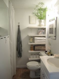 Small bathroom idea. Grey walls, mirror to reflect sunlight. Dark grey stone tiled floor would be nice. Or black white.