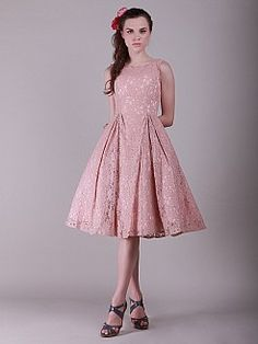 8572be7ea58 Lace A Line Party Dress with Flouncy Skirt 0113997 - USD $166.76 Knee  Length Bridesmaid Dresses