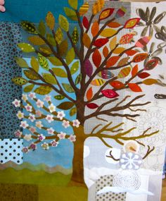 """Sue Spargo hand stitched """" Four seasons"""" fiber art using felts, wools and embroidery."""