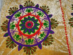 INDIAN PATCHWORK TABLE THROW HAND EMBROIDERY TAPESTRY VELVET WALL HANGING  AX20 #Handmade #ArtDecoStyle