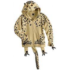 JS adidas OByO Jeremy Scott Fleece Leopard Hoodie - Brown