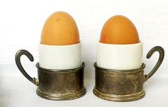 VINTAGE FRENCH SILVER Plate Egg Cup holders with Ceramic White Glazed Egg Cups Unusual Pair of Egg cups on Etsy, Sold