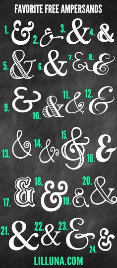 Favorite Free Ampersands