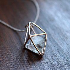 Octahedron fluorite necklace by DianaParesJoyas on Etsy