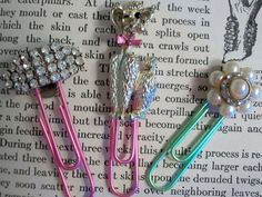 Vintage Jewelry Paper Clips Poodle Rhinestone Recycled Flower Gold Sparkly Bookmark Recycled. $15.00, via Etsy.