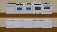Mod The Sims - White Appliances Black Blinds, Trash Compactors, White Appliances, Mini Fridge, Gas Stove, Sims 2, Kitchen, Blackout Curtains, Cool Mini Fridge
