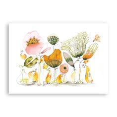 Greetingcard; 'Golden birds'