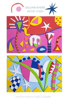 Explore the joyful, colorful, abstract work of UK artist Gillian Ayers. Great abstract collage project for kids preschool through pre-teen. Simple Collage, Collage Art, Collages, Classroom Art Projects, Class Projects, Diy Projects, Abstract Art For Kids, Teen Art, Process Art