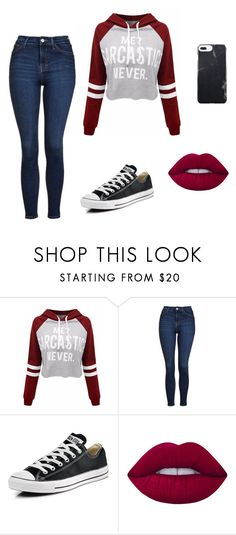 """Untitled #86"" by kaylabethsimpson on Polyvore featuring WithChic, Topshop, Converse and Lime Crime"