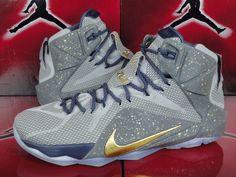 Nike Lebron 12 XII Nikeid ID Sz 12 Gray Navy Blue Gold Multi Color Custom   eBay