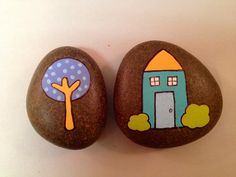 Cozy House and Tree Hand Painted Rock Paperweights or Decorative Stones. $7.00, via Etsy.