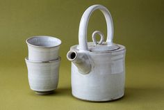Ceramic Teapot with Two Tea Cups in White Glaze by MadAboutPottery