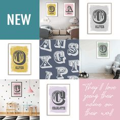 Are you looking for personalised wall art for your little one's bedroom or nursery?  This fun print features your child's initial and name in a cool linocut style on a screen print look background.  With 8 trending colours to choose from, your child is going to love seeing their name on the artwork in their room. Check them out now. Kids Prints, Fun Prints, Personalized Wall Art, Pop Design, One Bedroom, Color Trends, Your Child, Screen Printing, Gallery Wall