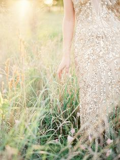 Gold gown with shimmery sequins