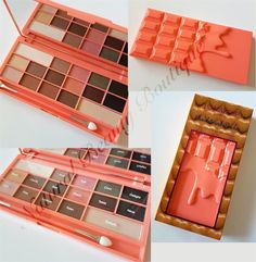 I Heart Makeup Revolution Chocolate Bar & Peaches 16 Colour Eyeshadow Palette for sale online Makeup Revolution Palette, Revolution Eyeshadow, Makeup Palette, Eyeshadow Palette, Chocolate Palette, I Heart Makeup, Makeup Train Case, Makeup Training, Cute Makeup
