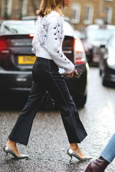 The Best Street Style At LFW AW16 #refinery29  http://www.refinery29.uk/2016/02/103500/street-style-london-fashion-week-aw16-news#slide-42  Kitten heels can be a tricky shoe to pull off but here it's done to perfection. Cropped flares optional. ...