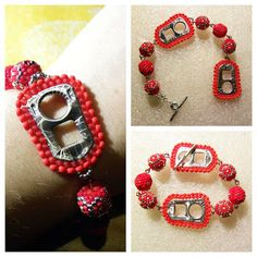 can tab and beaded beads bracelet #beadwork #sobby #beaded #recycle #can_tab