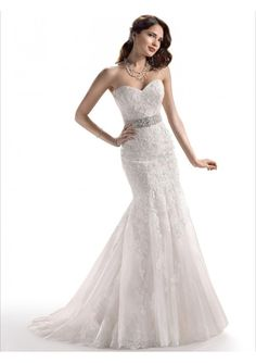 Lace Strapless Sweetheart Neckline Accented with Delicated Sash on Trumpet Wedding Dress MS004