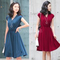 Korean Women's Elegant Slim V Neck Short Sleeve Drape Dress