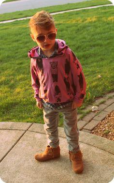 Earth Day! in Mini & Maximus zoo hoodie, Minnetonka mocs!