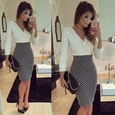 Buy Women OL Formal Business Work Stretch Dress 2016 Long Sleeve V-neck Plaid Patchwork Party Slim Bodycon Pencil Dress at Wish - Shopping Made Fun Business Casual Outfits, Business Dresses, Office Outfits, Classy Outfits, Office Attire, Business Casual Female, Summer Business Attire, Office Wear, Stylish Outfits