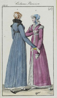 Two ladies wearing beautiful coloured pelisses. Costume parisien, 1808