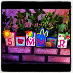 Summer Wooden Block Decor Set by CreationsByEmilyD on Etsy, $30.00