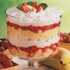 1 cup sugar 1/4 cup cornstarch 3 tablespoons strawberry gelatin powder 1 cup cold water 1 pint fresh strawberries, sliced 1-3/4 cups cold milk 1 package (3.4 ounces) instant vanilla pudding mix 3 medium firm bananas, sliced 1 tablespoon lemon juice 6 cups cubed angel food cake 2 cups heavy whipping cream, whipped Additional strawberries or banana slices, optional