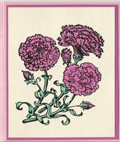 Flower of the Month-January's Carnations by inkieannie on Etsy