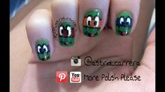 Ninja turtle nail art design.  please visit my youtube channel for an easy and quick tutorial on how to create this look. please thumbs up and share... DON'T FORGET TO SUBSCRIBE FOR MORE VIDEOS.