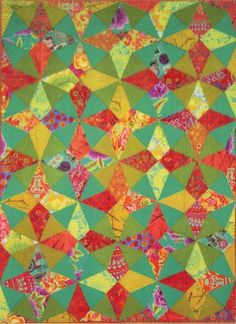 Cancan Quilt pattern by Aardvark Quilts.  Great color and simple setting: kaleidoscope blocks set on point.  Wonderful look!