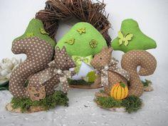 Pilz♥Fliegenpilz♥Eichhörnchen♥grün♥braun♥5 tlg.♥Herbst♥Landhaus♥Shabby♥Tilda
