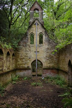 This Victorian schoolhouse and church is near Petworth, in West Sussex, England was abandoned in 1959.