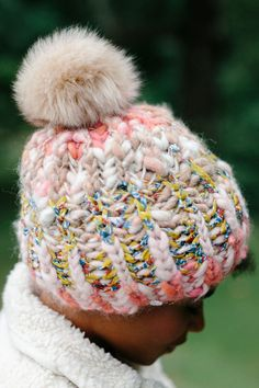 Big Sky Brioche Hat Pattern by Knit Collage Easy Knit Hat, Loom Knit Hat, Loom Knitting, Knitted Hats, Crochet Hats, Beginner Knitting Patterns, Knitting Designs, Simply Knitting, Chunky Yarn