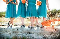 teal and orange bridesmaids dresses