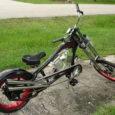 Photos of custom motorized bicycles.See OCC Schwinn Stingray choppers we've motorized.Also rat rods & cruisers, e-bikes or ones with gas and electric motors. Bike Chopper, Chopper Parts, Sportster Chopper, Occ Choppers, Custom Choppers, Custom Motorcycles, Gas Powered Bicycle, Banana Seat Bike, Bicycle Engine Kit