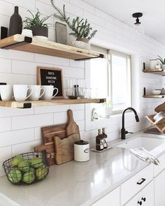 Modern Farmhouse Kitchens, Home Kitchens, Modern Kitchen Decor, Kitchen Diy Design, Small Kitchen Diy, Small Open Kitchens, Colorful Kitchen Decor, Small Kitchen Layouts, New Kitchen Designs