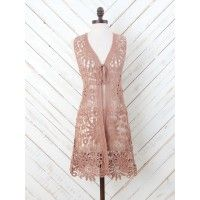 You will be fascinated with this all over crochet kimono! Leave your house looking stylish when you wear it over your favorite dress!   - loose fit   - sleeveless   - 100% cotton   - machine wash   - imported